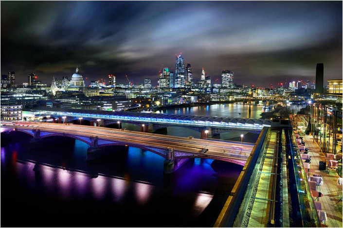wide view of london at night exterior