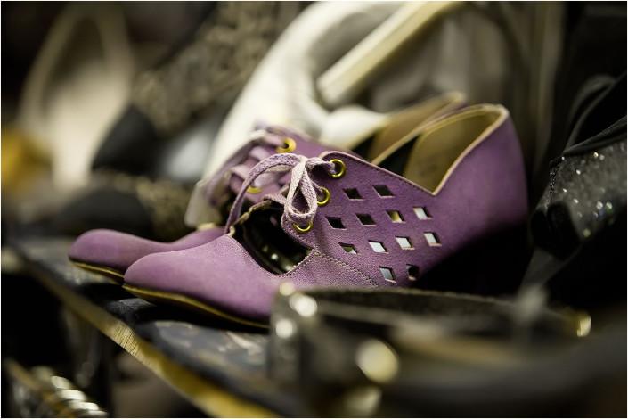 purple shoes in market