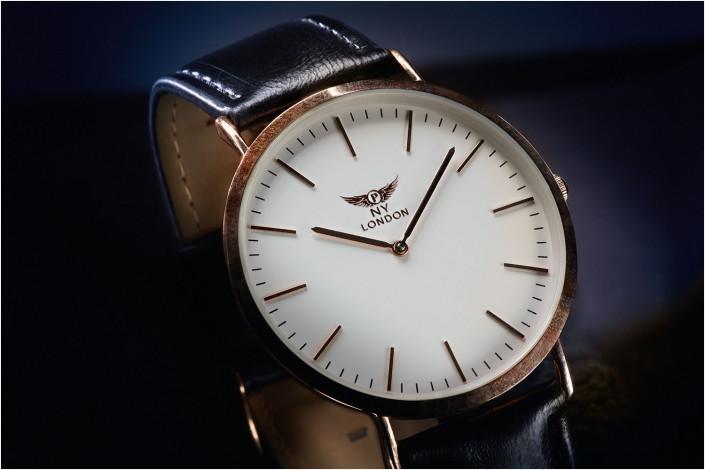 stylish watch against blue background