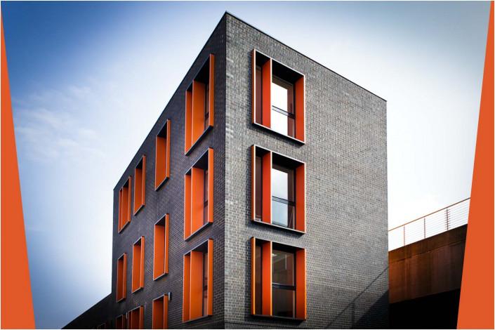 grey exterior with orange windows