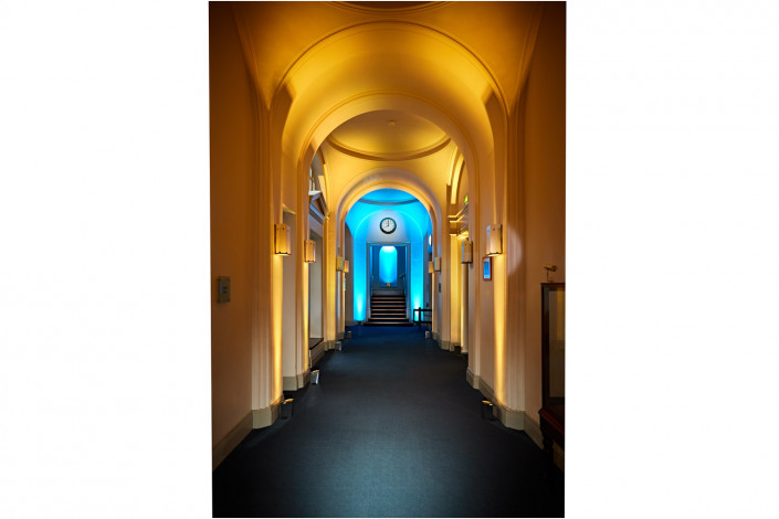 venue interior hallway with coloured lighting