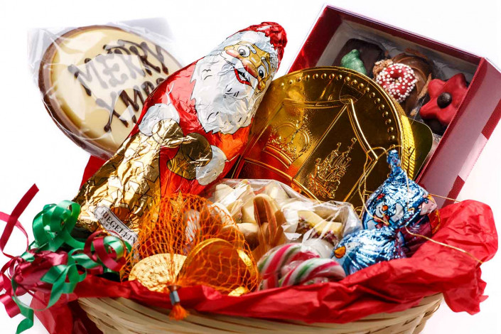 food photography of sweets in basket against white