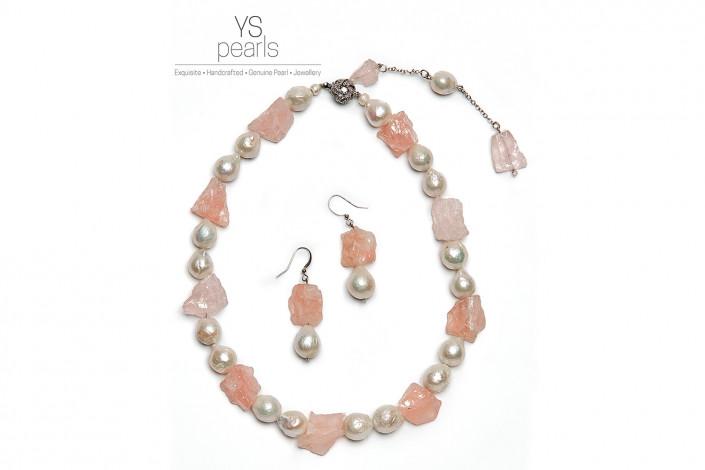 pearl jewellery advert against white