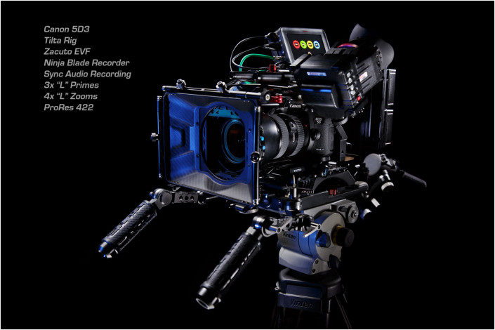 hi tech camera advert against black