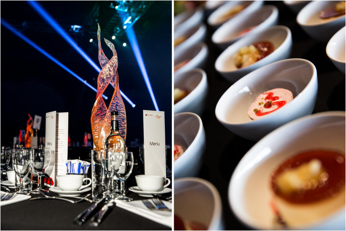 colourful food displays at a posh conference