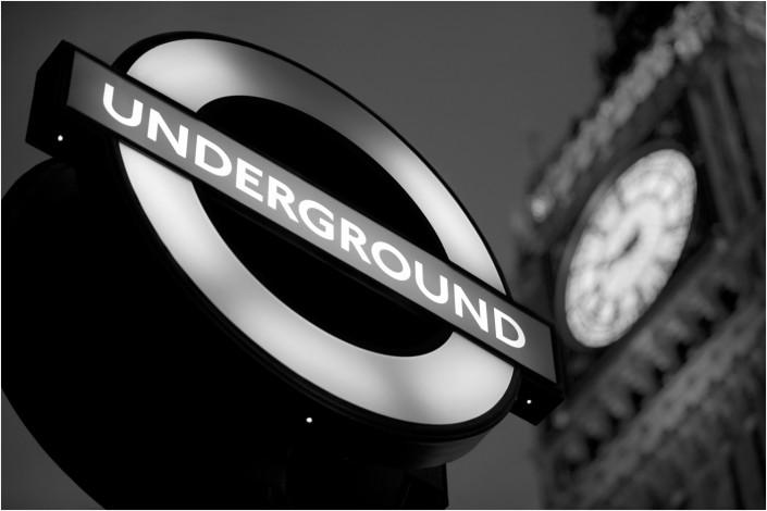london underground sign and big ben