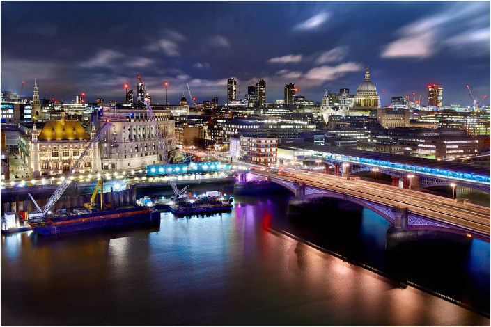 london exterior at night by the thames