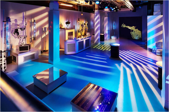 colourful venue interior with blue theme
