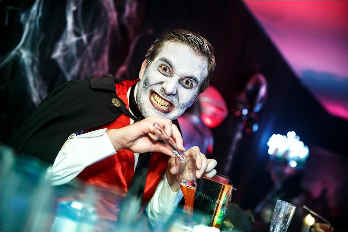 fancy dress performer dressed as vampire