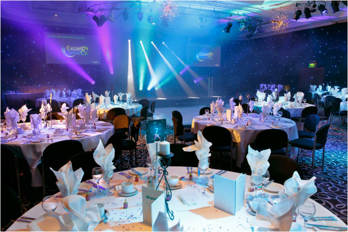 venue with party tables and lighting before the event