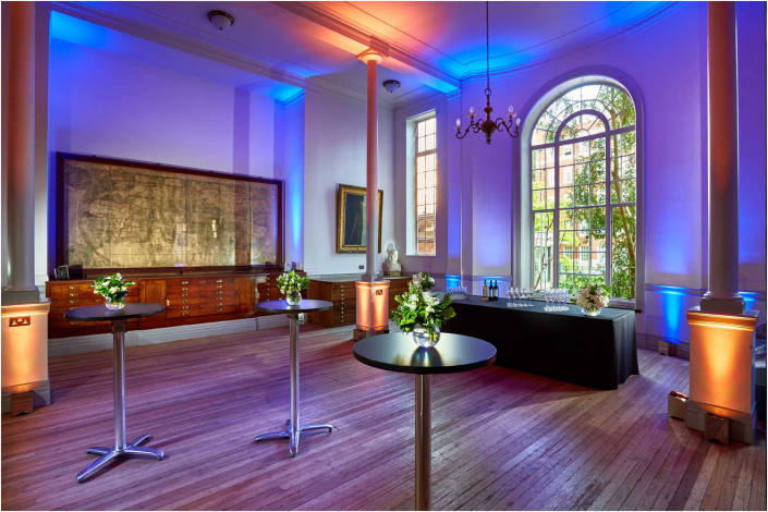 venue interior with colourful lighting