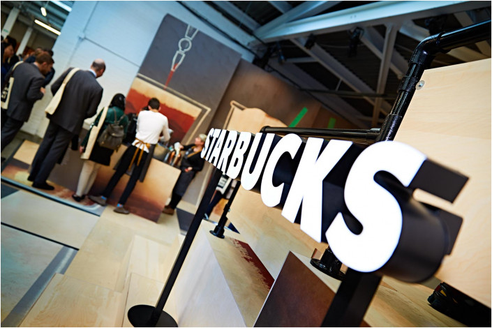 starbucks sign at an exhibition