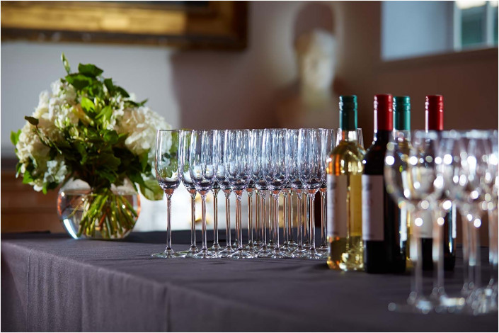 table detail at a party venue with bottles