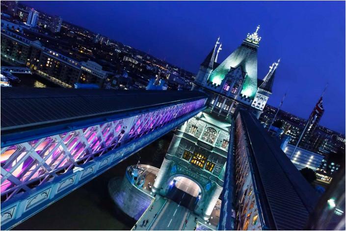 tower bridge exterior at night