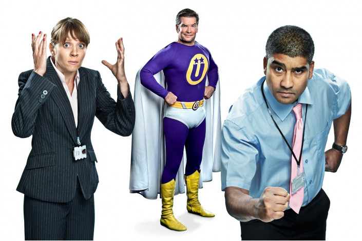 superhero cosplay portraits against white