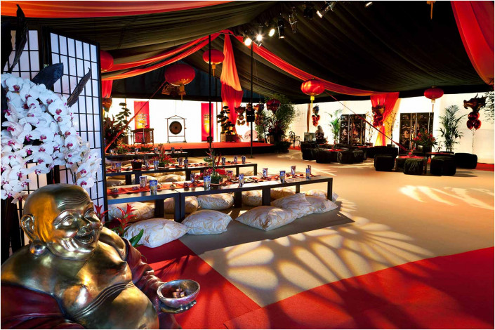 party venue with colourful chinese theme