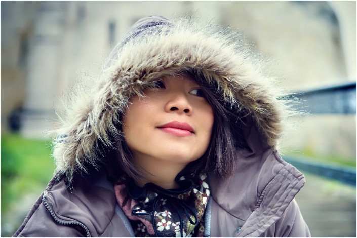 chinese girl with big furry hat