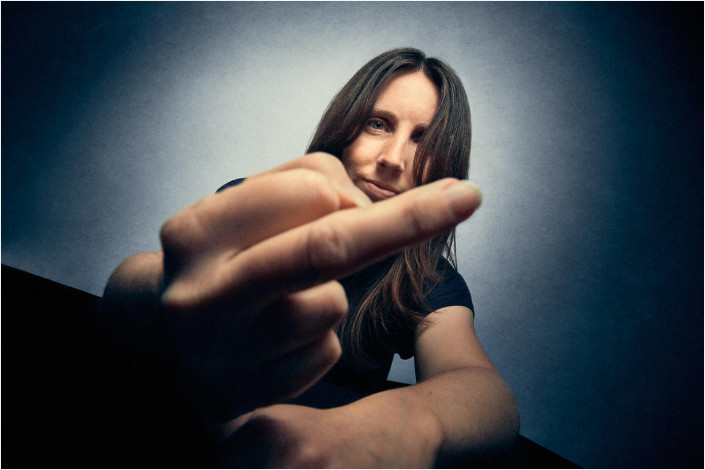 portrait with attitude and girl showing her finger