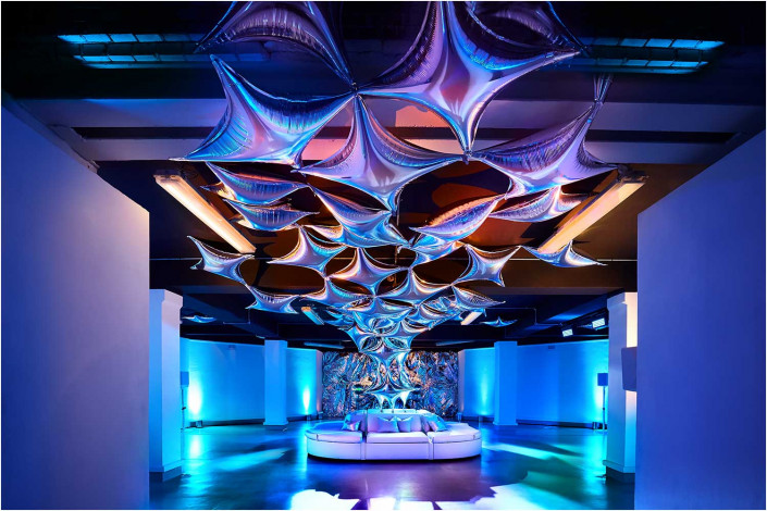venue interior with coloured lighting