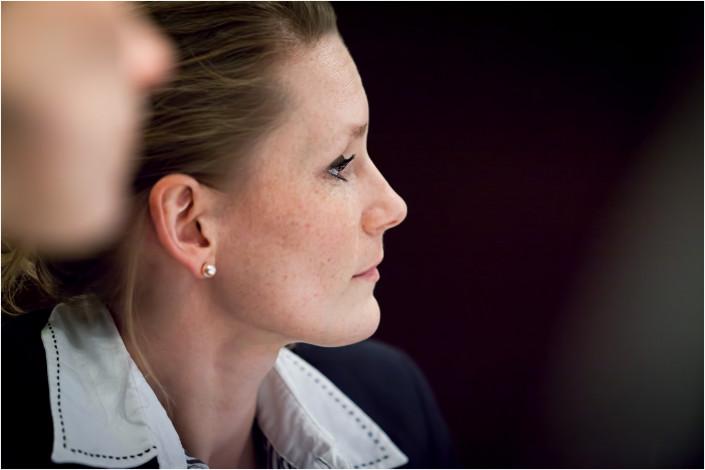 business lady listening carefully