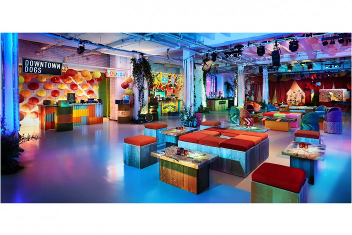 colourful venue before a party