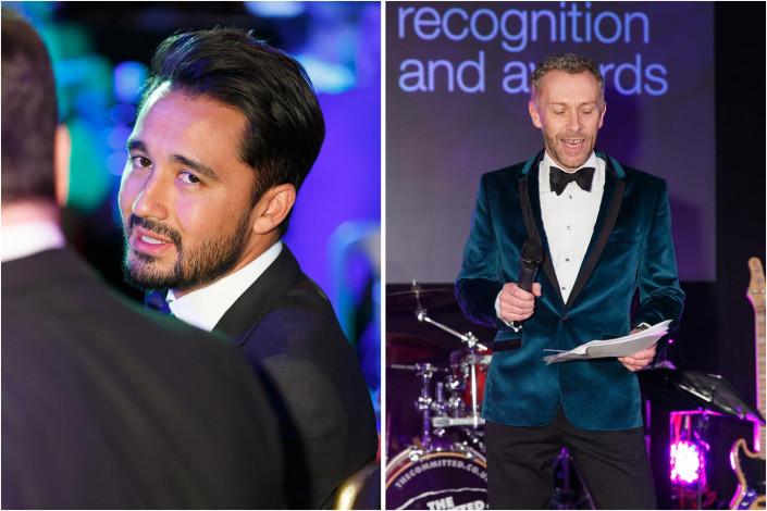 men in black-tie at an awards celebration
