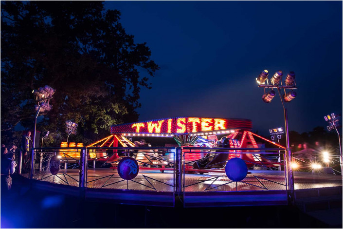 party exterior with fairground ride
